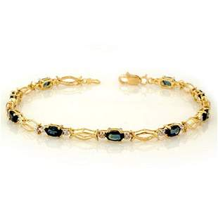 3.25 ctw Blue Sapphire Bracelet 10k Yellow Gold -