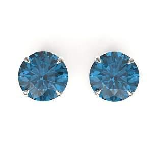4 ctw London Blue Topaz Designer Stud Earrings 18k