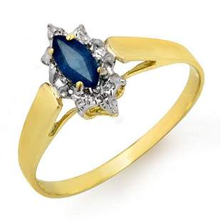 0.33 ctw Blue Sapphire Ring 10k Yellow Gold - REF-7A5N