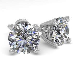 1.53 ctw VS/SI Diamond Stud Designer Earrings 18k White