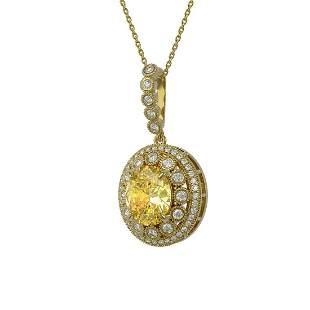 7.66 ctw Canary Citrine & Diamond Victorian Necklace