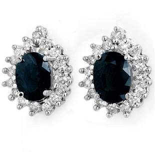 3.87 ctw Blue Sapphire & Diamond Earrings 14k White