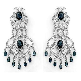 17.60 ctw Blue Sapphire & Diamond Earrings 14k White