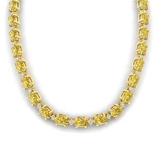 61.85 ctw Citrine & VS/SI Diamond Eternity Necklace 10k