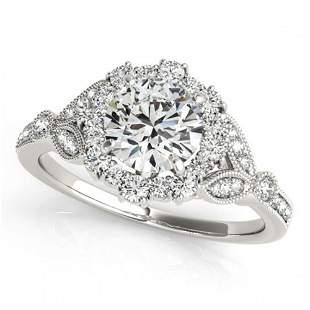 1 ctw Certified VS/SI Diamond Halo Ring 18k White Gold