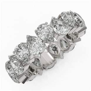 6.3 ctw Pear Cut Diamond Eternity Ring 18K White Gold -