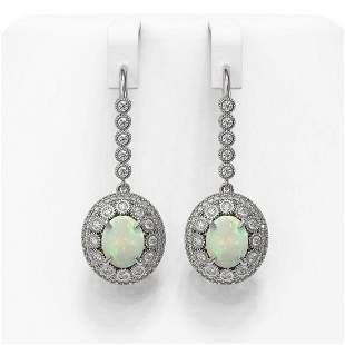 7.81 ctw Certified Opal & Diamond Victorian Earrings