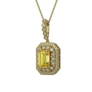 5.82 ctw Canary Citrine & Diamond Victorian Necklace