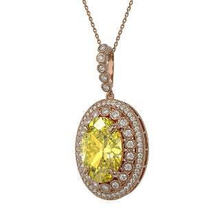 18.56 ctw Canary Citrine & Diamond Victorian Necklace