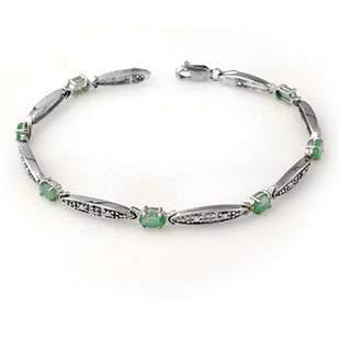 2.07 ctw Emerald & Diamond Bracelet 10k White Gold -