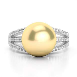 0.30 ctw Micro Pave VS/SI Diamond & Golden Pearl Ring