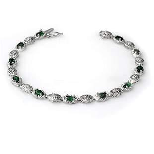 2.62 ctw Emerald & Diamond Bracelet 10k White Gold -