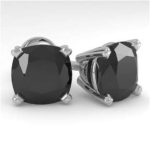 6 ctw Cushion Black Diamond Stud Designer Earrings 18k