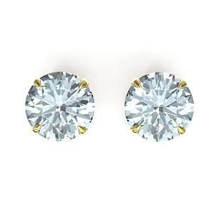 4 ctw Sky Blue Topaz Designer Stud Earrings 18k Yellow