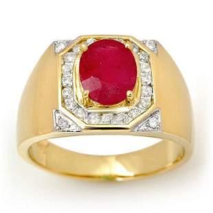 3.60 ctw Ruby & Diamond Men's Ring 14k Yellow Gold -