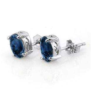 3.0 ctw Blue Sapphire Earrings 14k White Gold -