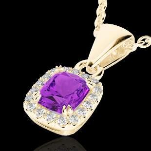 1.25 ctw Amethyst & Micro Pave VS/SI Diamond Necklace
