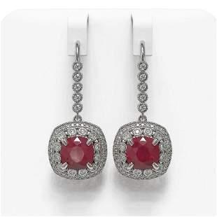 12.9 ctw Certified Ruby & Diamond Victorian Earrings