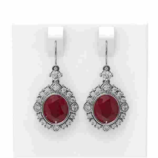 9.52 ctw Ruby & Diamond Earrings 18K White Gold -