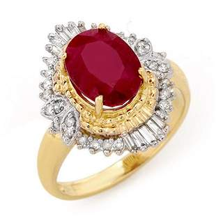 3.24 ctw Ruby & Diamond Ring 14k Yellow Gold -