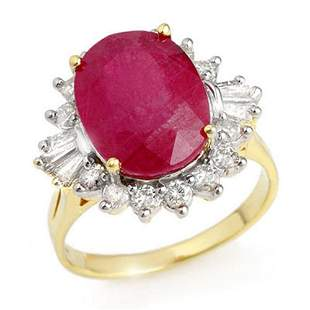 7.04 ctw Ruby & Diamond Ring 14k Yellow Gold -