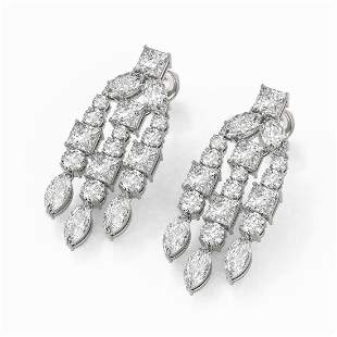 6.4 ctw Princess & Marquise cut Diamond Earrings 18K