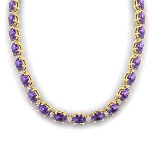 46.5 ctw Amethyst & VS/SI Diamond Eternity Necklace 10k