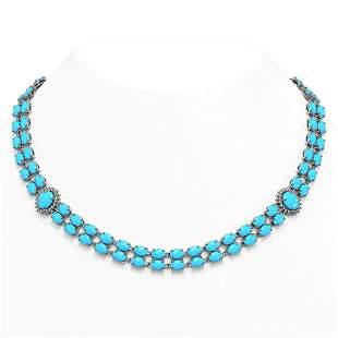 47.17 ctw Turquoise & Diamond Necklace 14K White Gold -