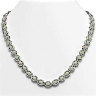 21.21 ctw Opal & Diamond Micro Pave Halo Necklace 10k