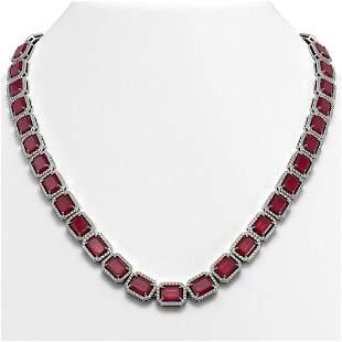 58.59 ctw Ruby & Diamond Micro Pave Halo Necklace 10k