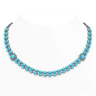 28.86 ctw Turquoise & Diamond Necklace 14K White Gold -