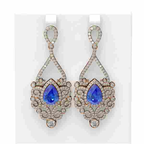 10.26 ctw Tanzanite & Diamond Earrings 18K Rose Gold -