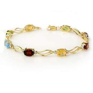 8.02 ctw Multi-Sapphire & Diamond Bracelet 10k Yellow