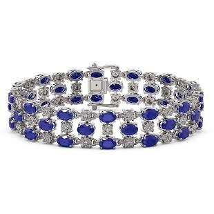17.74 ctw Sapphire & Diamond Row Bracelet 10K White