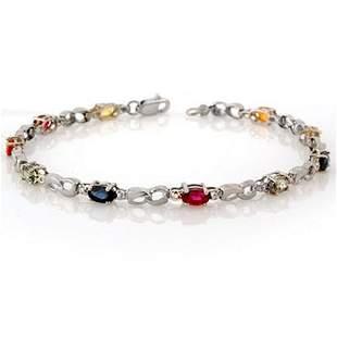 3.51 ctw Multi-Sapphire & Diamond Bracelet 10k White