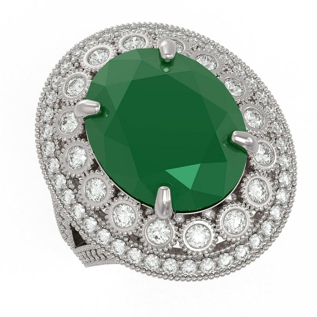13.85 ctw Certified Emerald & Diamond Victorian Ring