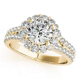 2.01 ctw Certified VS/SI Diamond Halo Ring 18k Yellow