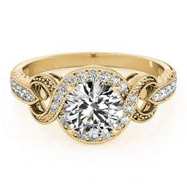 0.8 ctw Certified VS/SI Diamond Halo Ring 18k Yellow