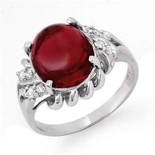 4.25 ctw Garnet & Diamond Ring 10k White Gold -