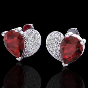 2.50 ctw Garnet & Micro Pave VS/SI Diamond Earrings 10k