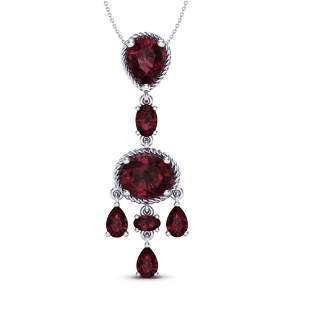 8 ctw Garnet Necklace Designer Vintage 10k White Gold -