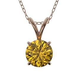 0.73 ctw Certified Intense Yellow Diamond Necklace 10k