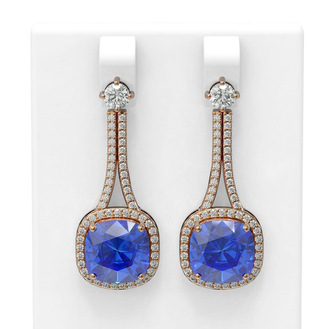 12.78 ctw Tanzanite & Diamond Earrings 18K Rose Gold -