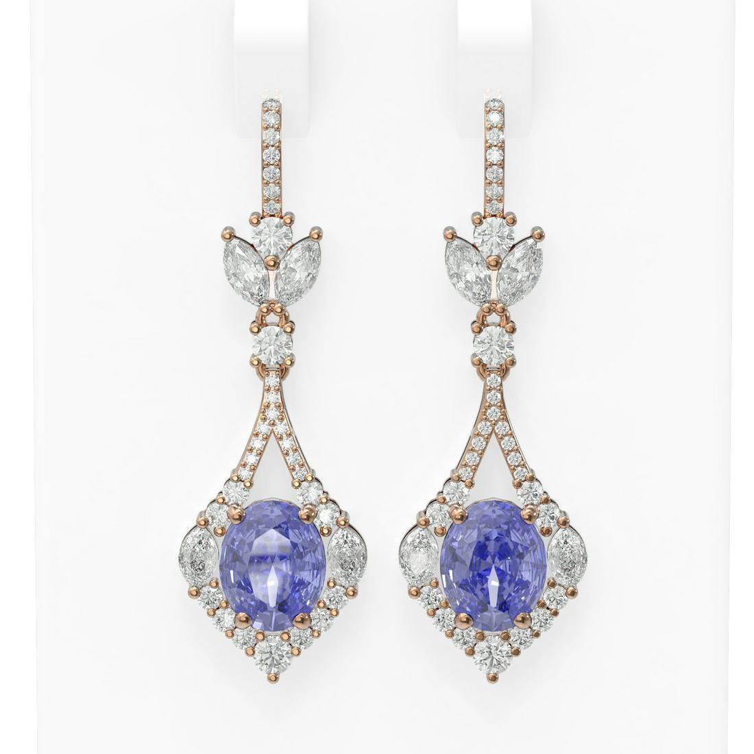 10.73 ctw Tanzanite & Diamond Earrings 18K Rose Gold -