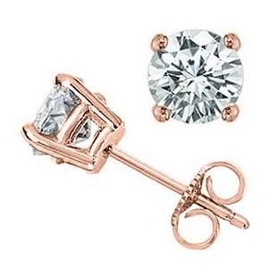 1.0 ctw Certified VS/SI Diamond Stud Earrings 18k Rose