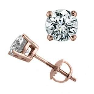 2.0 ctw Certified VS/SI Diamond Stud Earrings 18k Rose