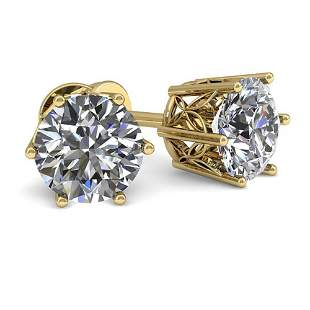 1.0 ctw Certified VS/SI Diamond Stud Earrings 18k