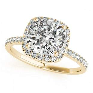 1.08 ctw Certified VS/SI Cushion Diamond Halo Ring 18k