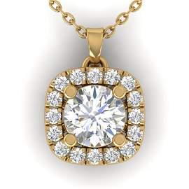 1.01 ctw Certified VS/SI Diamond Stud Halo Necklace 14k