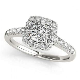1.16 ctw Certified VS/SI Cushion Diamond Halo Ring 18k